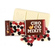 Mini Čokoláda Bílá s červeným rybízem a borůvkami 50g